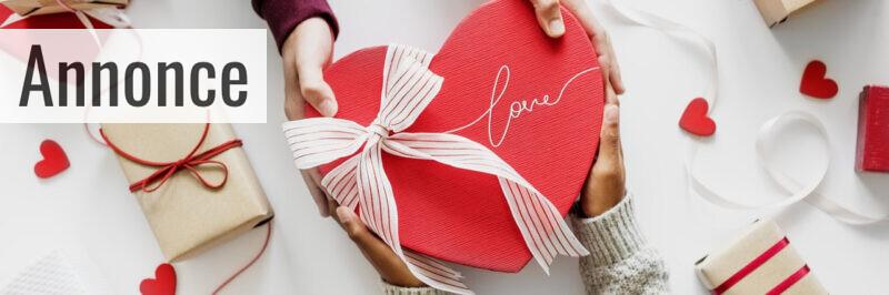 En gaveæske formet som et hjerte
